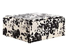 Black Cow Hide Storage Ottoman