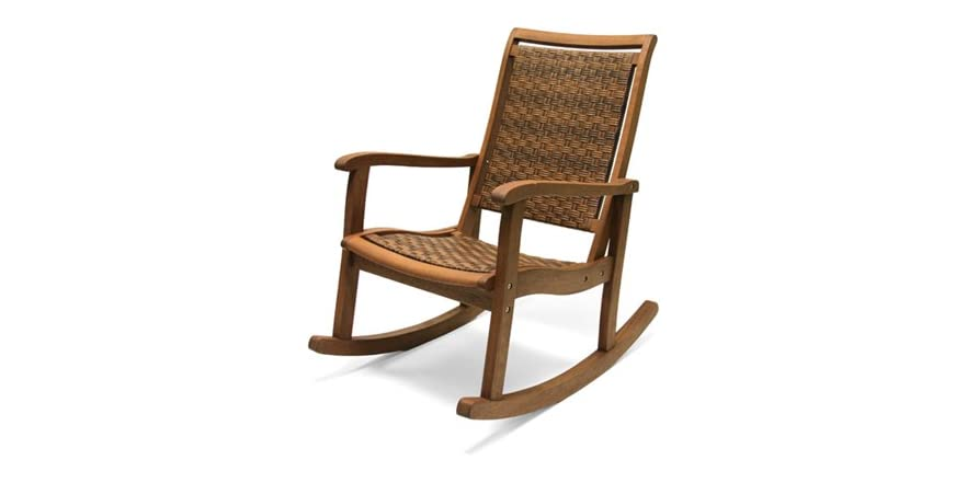 Outdoor interiors all weather rocking chair for Outdoor interiors eucalyptus rocking chair