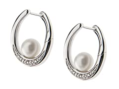 SS & Freshwater Pearl Earrings w/ Topaz