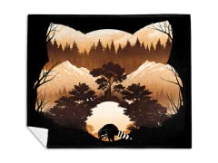 Raccoon Sunset Mink Fleece Blanket