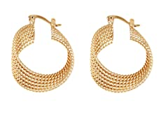 18k Plated 6 Layer Twisted Diamond Cut Hoops
