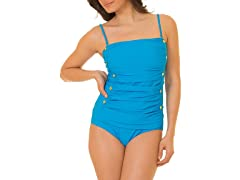 Coco Limon Ruched One Piece Swimsuit, Blue