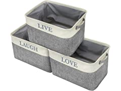 Twill Storage Basket Set, 3 Pack- (Love, Live,Laugh)