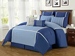 8-Pc Royalton Comforter Set- Blue (Multiple Sizes)