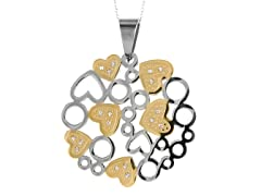 2-Tone Heart Pendant w/ Cable Link