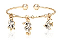 Gold/White Swarovski Elements Sea Creatures Charm Bangle