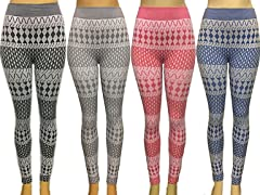 Maze Collections 4-Pack: Ladies Abstract Printed Fleece Lined Leggings