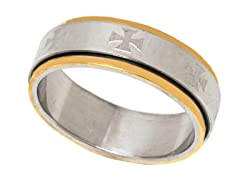 2-Tone Gold Plated Cross Ring