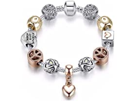 Swarovski Elements Heart Charm Bracelet