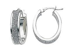 Italian Sterling Silver Glitter Hoop