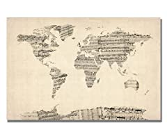 Old Sheet Music World Map 18x24 Canvas