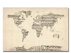 Old Sheet Music World Map 18x24 Canvas