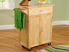 Kitchen Cart with Wood Top  Natural