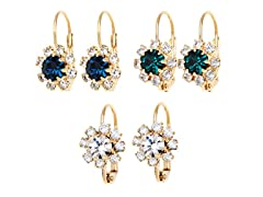 Sapphire, Green & Clear Crystal Flower Set of 3 Huggie Earrings