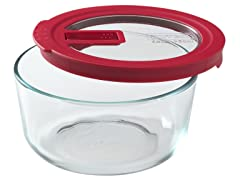 Pyrex No-Leak 4-Cup Round Storage Bowl with Red Lid