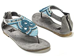 Audrey Beaded Sandals, Dark Grey