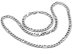 Stainless Steel Curb Necklace & Bracelet