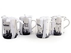 Signature Coffee Mugs Cityscapes - Set of 4