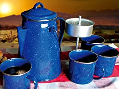 Enamelware Percolator with 4 Cups