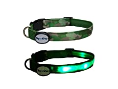 Dog-e-Glow Green Camouflage LED Lighted Collar-Medium