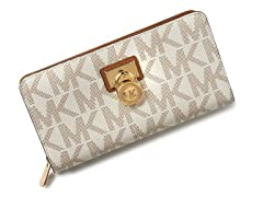 Michael Kors Hamilton Signature Zip Around Continental Wallet, White