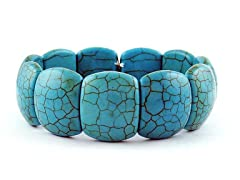 Genuine Turquoise Hammered Design Stretch Bracelet