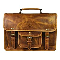 Deals on Vintage Handmade Leather Messenger Satchel Bag