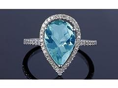 Genuine Blue Topaz Pear Cut Ring
