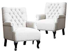Set of 2 Tivoli Tufted Fabric Club Chair