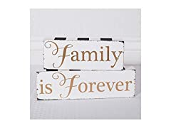 Family is Forever Wood Block Table Sign Set