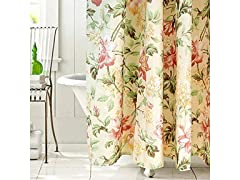 Riyidecor Floral Fabric Shower Curtain