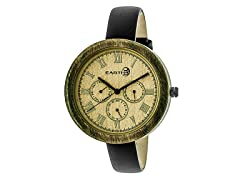 Earth Wood Brush Leather Strap Watch