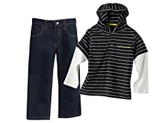 Hooded Top & Jeans Set - Blk/Wht (12M-4)