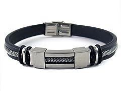 Braided SS Rubber Bracelet