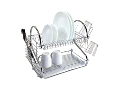 "2-Tier 18"" Chrome-Plated Stainless Steel Dish Rack"