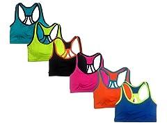 6Pk Neon Color Sports Bras