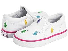 POLO White Canvas w/ Muliti Pony Sneakers