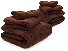 Microcotton 6-Pc Towel Set-Chocolate
