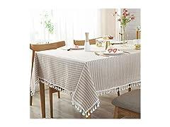 AMZALI Stripe Tassel Tablecloth