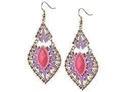 18K Gold-Plated Skite Purple/Pink  Dangling Earrings