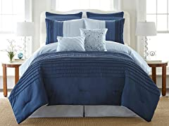 8-Pc Ocean Drive Pleated Comforter Set