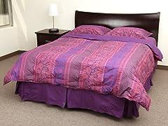 Paisley Reversible White Down Comforter Set-King