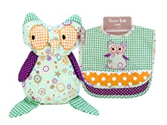Jelly Bean Owl Bib & Buddy Set