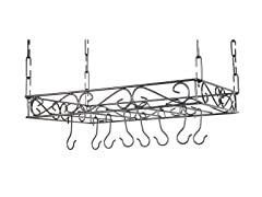 Scrolled Iron Pot Rack- Grey