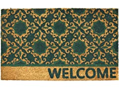 Fleur Welcome Weather-Resistant Outdoor Coir Doormat