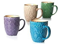 Four 15 oz Mugs Raised Pattern