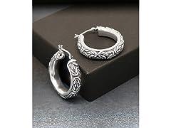 Oxidized Artisan Byzantine Hoop Earrings