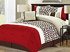 7-Pc Bentley Comforter Set- Red (Multiple Sizes)