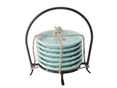 Sorrento Dip Bowls in Metal Caddy 6pc