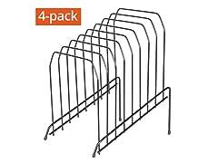 8 Section Incline Sorter Wire File Desktop Organizer, 4Pk